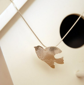 Flying bird pendant sterling silver embossed with a lace pattern £59